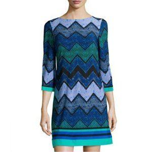 Eliza J Blue Dot Chevron Zip Shift Dress